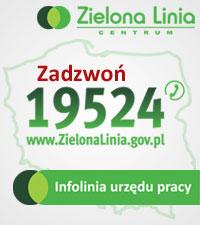 Zielona Linia - infolinia: 19524 - udzielamy informacji na temat usług rynku pracy, świadczeń oraz wsparcia oferowanego przez powiatowe urzędy pracy. Odpowiadamy na pytania z zakresu Ustawy o promocji zatrudnienia i instytucjach rynku pracy.