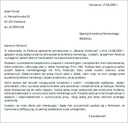 Przykład listu motywacyjnego